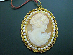 G280 Gorgeous Vintage 18kt Yello Gold Cameo Pendant With Freshwater Pearls