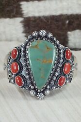 Royston Turquoise Coral And Sterling Silver Bracelet - Regana Begay
