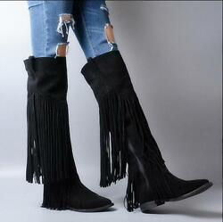 Ladies British Shoes Over Knee High Boots Suede Leather Tassels Flats Size Zip