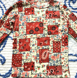 Vintage Kids Shirt Faux Patchwork Long Sleeve Tee in Red and Blue 1970s M