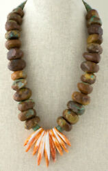 Kingman Turquoise Round Bead Necklace With Orange Spiny Oyster Eagle Fantail