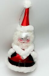 Vintage Christmas Tree Ornament Of Santa Made In Italy [c4]