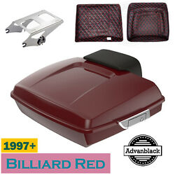 Billiard Red Razor Tour Pack Trunk Luggage Backrest Fits 97+ Harley Touring