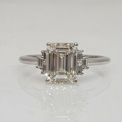 1.00 Ct Emerald Solitaire H/vs1 Diamond Engagement Ring 14k White Gold Size 5 6