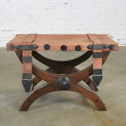 Spanish Revival Curule Foot Stool Ottoman W/ Leather Seat And Straps By Artes De M