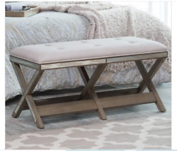 Entryway Bench Upholstered Mirrored Bedroom Modern Tufted Ottoman Dining Chic