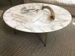 45andrdquo Round Mid Century Marble And Brass Coffee Table