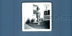 Found Bandw Photo A_8939 Pretty Woman In Swimsuit Posed In Yard