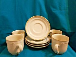 Sunmarc Endura Collections Stoneware Woodbloom Set Of 4 Cups And 4 Saucers Japan
