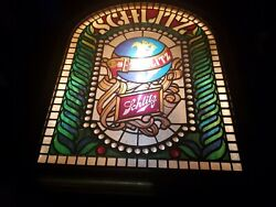 Schlitz Beer Vintage / Antique Plastic Bar Lighted - Faux Stained Glass
