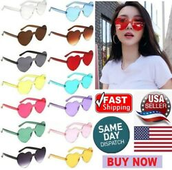 NEW Oversized Candy Color Heart Shaped Sunglasses Womens Clear Lens Fashion $4.99