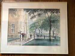 Vintage 1970's M. Elich Framed Print Chicago Water Tower Park Bench Clock Trees