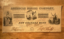 233 1850 American Mining Company Mining Stock Certificate From Windsor Vermont