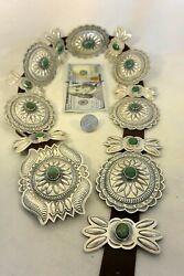 Xl Signed Tc 19+ozt Navajo Concho Belt Sterling Silver And 17 Turquoise Buckle