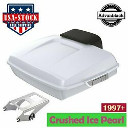 Crushed Ice Pearl Razor Tour Pack Trunk Luggage For 97-20 By Harley Advanblack