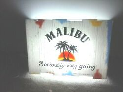 Rare Malibu Rum Bar Lighted Sign Man Cave Seriously Easy Going 2004 19x14