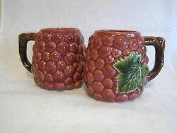 Andrea By Sadek Jay Willfred Red Grapes Coffee Mugs Majolica Set Of 2