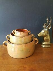French Antique Provence 3 Marmites Cooking Pots Yellow Glazed Pottery Vallauris