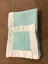 Vintage Mint Green Acrylic Satin Trim Baby Blanket Very Very Soft 50x36 In.