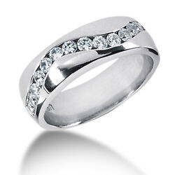 0.90 Ct Real Diamond Engagement Ring Solid 14k White Gold Mens Band 11 12