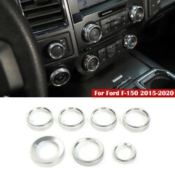 6pcs Air Conditioner Audio Switch Knob Trailer Trim For Ford F150 2016-19 Silver