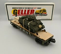 Geller Toy Trains Usax M4a3 Sherman Tank W/ Bags, Crate Us Army O Scale 0-027