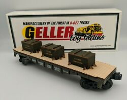 Geller Toy Trains Us Army Flat Car Fort Eustis O Scale 0-027 Guage Rare New