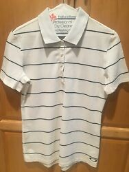 OAKLEY WHITE WITH BLACK STRIPES GOLF POLO SHIRT MED FREE SHIPPING $9.99