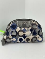 Coach Cosmetic Bag Madison Graphic Sequin Op Art Sateen Gray Leather Zip M2 $59.99
