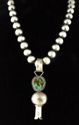 Silver Bead Necklace With Natural Royston Turquoise Squash Blossom Pendant