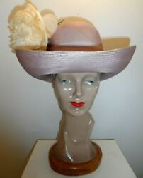 Vintage Jack Mcconnell New York Woven Straw Sun Hat With Large Peony Flower