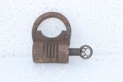 Iron Lock And Key 1900s Old Vintage Antique Rare Collectible Padlock Pb-99