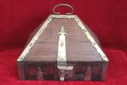 Wooden Case Box New Antique Brass Home Decor Collectible Halloween Gifts Pl-38