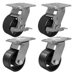 4 Pack Combo 4 Vintage Caster Wheels Black Iron Casters 2 Plate And 2 W/brake