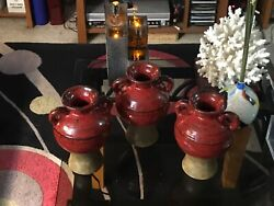"""Set Of 3 Beautiful Red Southern Living At Home Jars 8"""" Tall"""