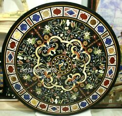 Black Marble Coffee Table Top Antique Work Island Table With Gemstone Inlay Work