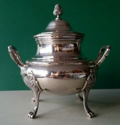 Antique Ornate French Empire Style Sterling Silver Sugar Bowl 19th Century