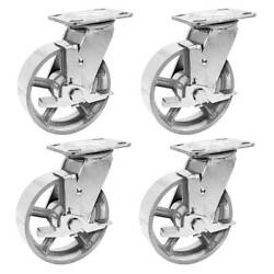 4 Pack 5 Vintage Caster Wheels Swivel Plate Grey Silver Iron Casters With Brake