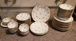 Limoges Purple Flower Haviland China Lot Plates, Berry Bowls, Cups, And Saucers