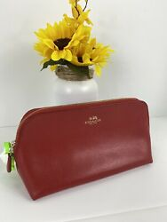 Coach Cosmetic Bag Crossgrain Leather Large Zip Top Red F53387 M2 $59.99