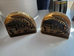 100th Anniversary Westinghouse Air Brake Co 1869-1969 Pair Bookends Rr