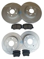Front And Rear Rotors+ceramic Pads For Acura Ilx 13-15 2.4l Honda Civic 12-15 Si