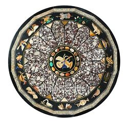 Marble Office Meeting Table Top Inlay Work Dining Table With Pietra Dura Art