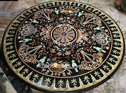 Round Table Top With Pietra Dura Art Dinning Table Multi Color Gemstone Inlaid