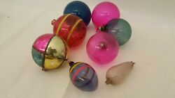 Lot Of 8 Vintage Glass Christmas Ornaments Colorful Balls Etc