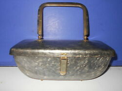 Vintage Toro N.y. Charcoal Pearlized Grey Lucite 50and039s Purse