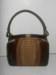 Vintage 2 Tone Brown Horned Back Alligator And Leather 50and039s Purse