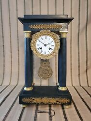 Neoclassical French Portico Clock Circa 1800s Japy Freres Vincent Marble Brass