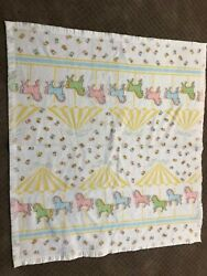Vintage White Carousel Horses With Satin Trim Baby Blanket 44x41 In.