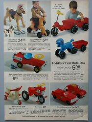 1967 Vintage Paper Print Ad Pedal Tractor Ride-on Scooter Mustang Truck Tricycle
